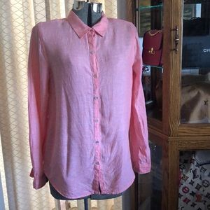 Jones & Co Salmon 100% Linen Shirt L